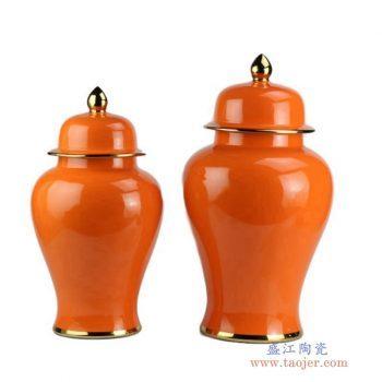 RYKB132-j     高温颜色釉 橙色带金边将军罐摆件品