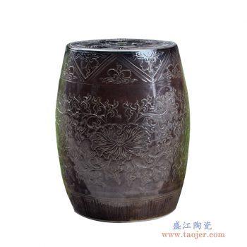 RYMA93-A   单色釉 影青雕刻花卉圆面 鼓凳凉墩花园凳