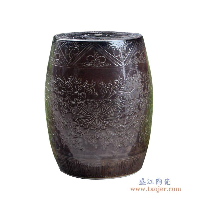 RYMA93-A   单色釉单色釉 影清雕刻圆面 鼓凳
