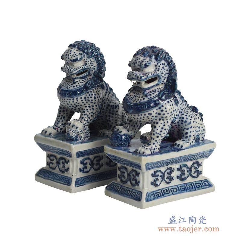 RYQA08青花双狮仿古雕塑摆件品雕刻站立定制