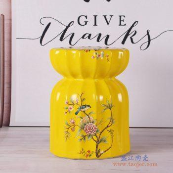 RZKL06-A  黄色花鸟莲花凳陶瓷凳凉墩