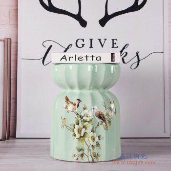 RZKL06-B    绿色花鸟莲花凳陶瓷凳凉墩