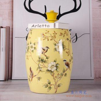 RZKL07-A   浅黄色花鸟换鞋凳花鸟陶瓷鼓凳梳妆凳