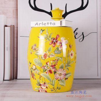 RZKL07-D   黄色花蝶换鞋凳花鸟陶瓷鼓凳梳妆凳