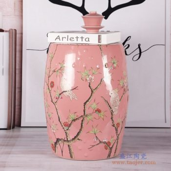 RZKL07-K  粉红色花鸟换鞋凳花鸟陶瓷鼓凳梳妆凳