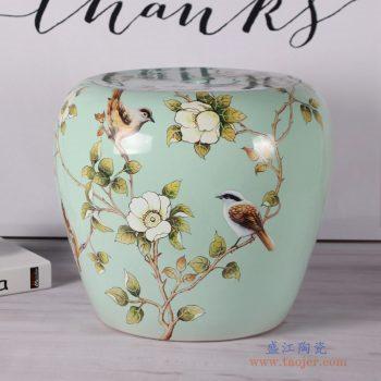 RZKL08-A  豆青花鸟苹果凳美式田园陶瓷凳子