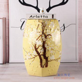 RZKL14-A   六方鹦鹉黄色花鸟凳镂空陶瓷凳子凉凳小茶几