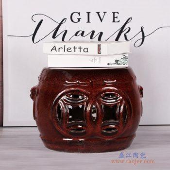 RZKL15-A  手工陶瓷凳子红釉镂空圆形凳雕刻