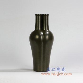 RYPM38   茶叶末釉三孔花瓶古董古玩