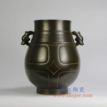 RYPM41    茶叶末釉双耳尊古董古玩古瓷器