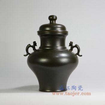 RYPM43     茶叶末釉双耳花瓶花插仿古雕刻身子