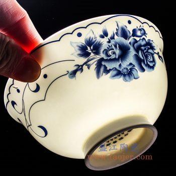 6914-RZKX16   4.5寸青花高脚牡丹花饭碗汤碗单只