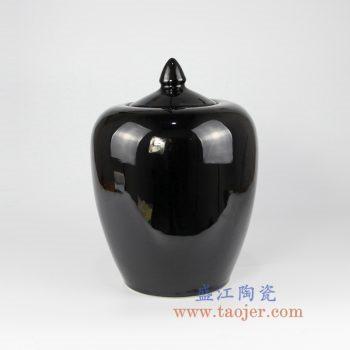 RYNQ45    黑色颜色釉带盖陶瓷罐茶叶罐储物罐