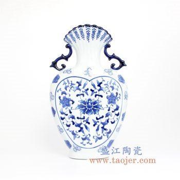 RZCW06 青花瓷花瓶花插双耳瓶西式