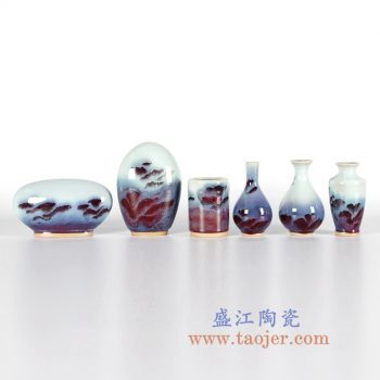 RZFW-组合11-16    颜色釉红釉钧瓷花瓶花插窑变组合