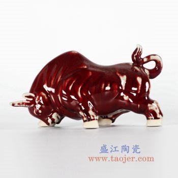 RZFW08 红釉窑变牛雕塑摆件品低头