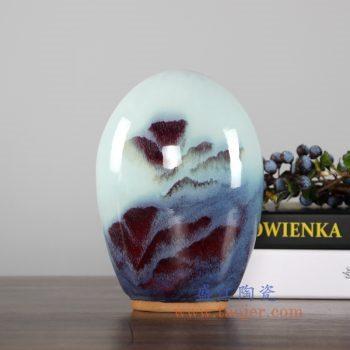 RZFW13 红釉窑变颜色釉花瓶圆形家居摆件