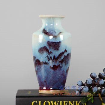 RZFW16  红釉窑变颜色釉花瓶圆形家居摆件