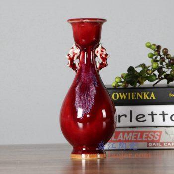 RZFW25  颜色釉红釉奖杯瓶花瓶花插窑变