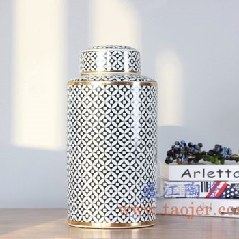 RZKA15A300_0328    现代描金花卉茶叶罐储物罐盖罐高