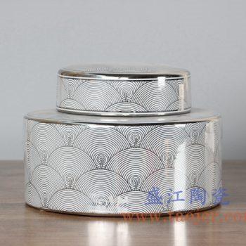 RZKA15B264_0393   现代描金鱼鳞片茶叶罐储物罐盖罐低
