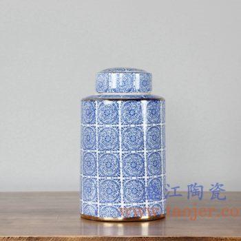 RZKA161080_0239     现代描金青花茶叶罐储物罐盖罐