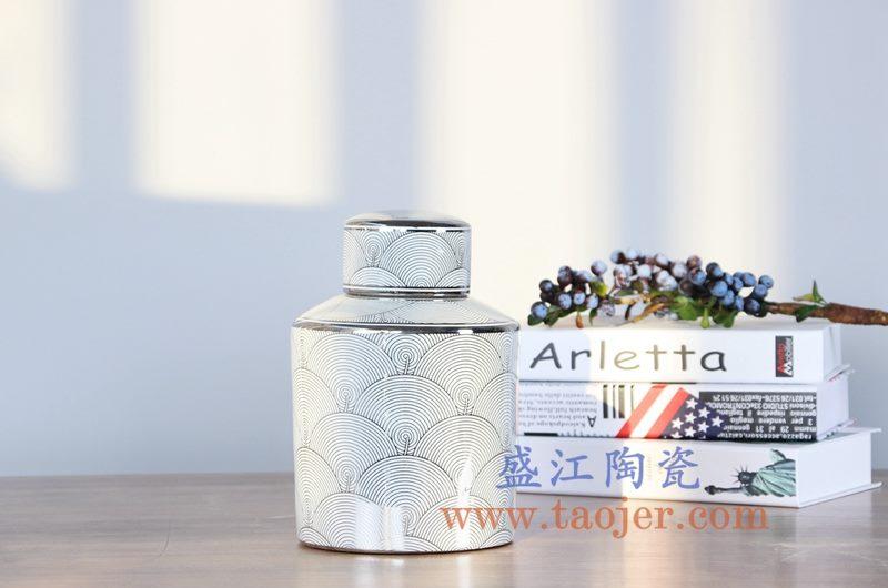 RZKA161264_0368   现代描金鱼鳞片茶叶罐储物罐盖罐