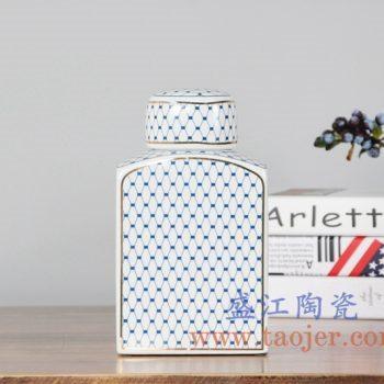 RZKA161282_0263 现代描金四方形茶叶罐储物罐盖罐