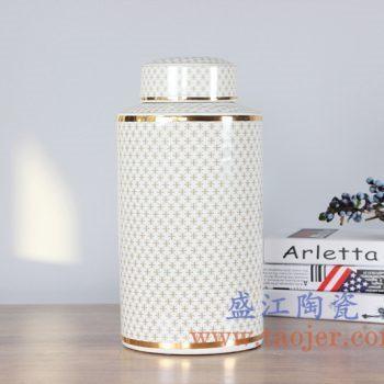 RZKA161302_0303 描金圆形直筒罐陶瓷储物罐茶叶罐艺术摆件品