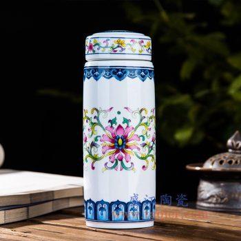 CBAJ07-B    粉彩缠枝莲陶瓷保温杯水杯携带杯