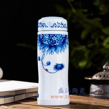 CBAJ07-D    青花向日葵保温杯水杯陶瓷杯
