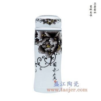 CBAJ07-F   水墨国色天香保温杯陶瓷水杯茶杯