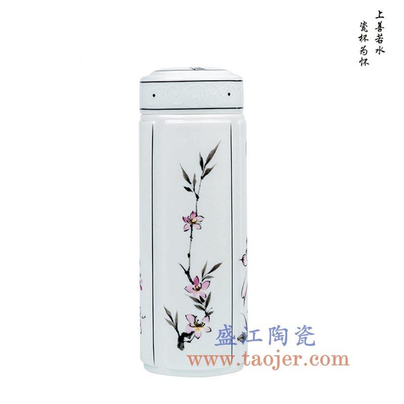 CBAJ07-I 粉彩花卉陶瓷保温杯水杯茶杯