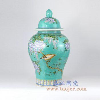 RYRK23-A  手绘绿色珐琅彩花鸟将军罐花瓶