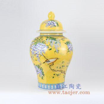 RYRK23-B 手绘黄色珐琅彩花鸟将军罐花瓶