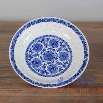 RZLL02 青花玲珑牡丹8寸盘菜盘汤盘家居用具