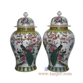 RZLS01-B    手绘粉彩寿桃孔雀将军罐储物罐花瓶