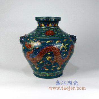RZLV06   手绘古玩古董收藏老物件粉彩龙陶瓷罐