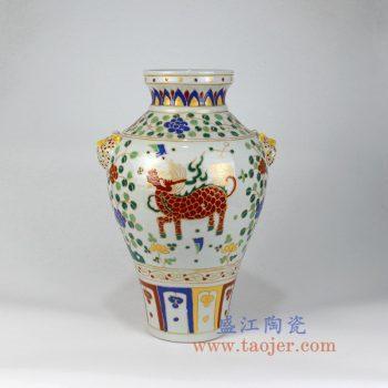 RZLV05     手绘古玩古董收藏老物件粉彩陶瓷罐