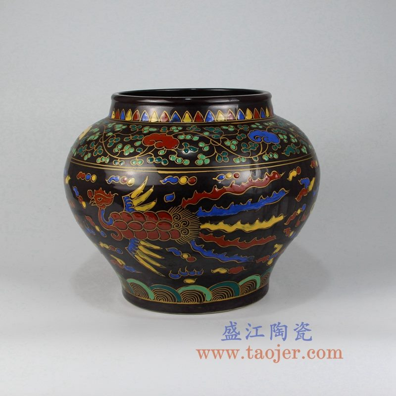 RZLV04 古玩古董收藏老物件粉彩凤纹罐