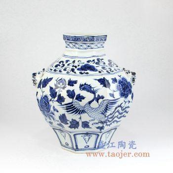 RZLQ02    青花凤凰多边形花瓶花插仿古