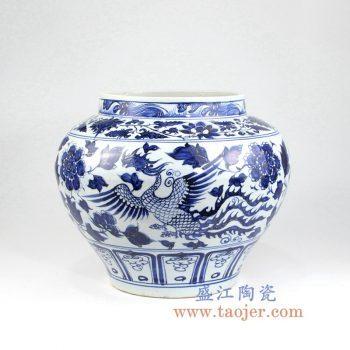 RZLQ01    青花花鸟凤凰陶瓷罐花瓶花插