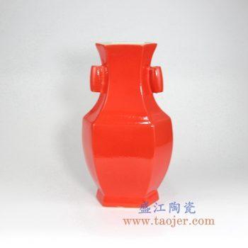 RYUU25  颜色釉中国红多边形花瓶花插