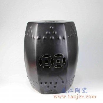 RYIR109-B 亚光六边形方凳陶瓷带铜钱孔颜色釉凉墩景德镇手工瓷器