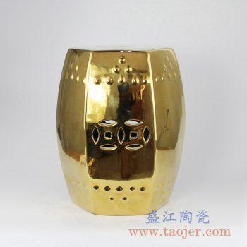 RYIR109-C  镀金六边形方凳陶瓷带铜钱孔凉墩花园凳景德镇陶瓷瓷器手工瓷器