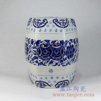 RYIR109-D 青花六边形带铜孔陶瓷凳饰品创意瓷景德镇陶瓷瓷器手工瓷器