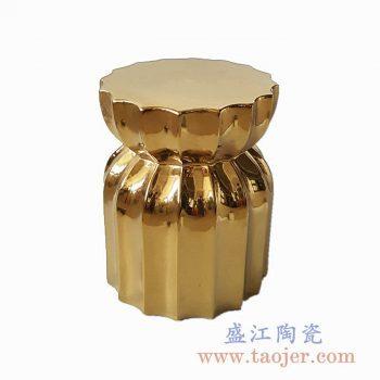 RYIR111  多边形镀金陶瓷凳凉墩花园凳景德镇陶瓷瓷器手工瓷器
