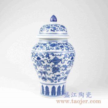 RYUJ20 青花缠枝莲将军罐陶瓷花瓶摆件景德镇陶瓷瓷器
