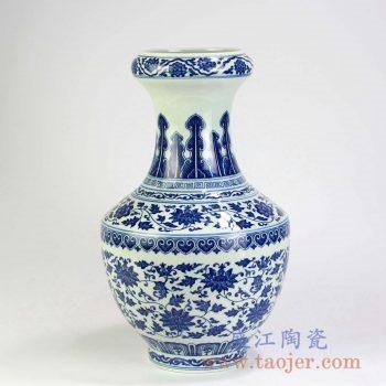 RYUU27  青花缠枝莲蒜头瓶花瓶花插景德镇陶瓷瓷器手工瓷器