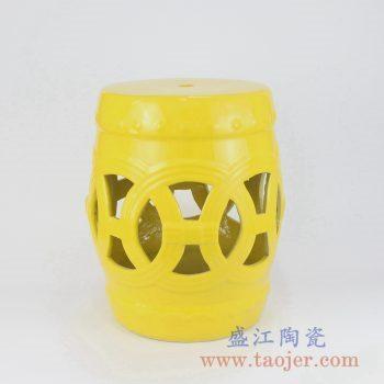 RZKL12-B 黄色镂空雕刻陶瓷凳门墩家居瓷景德镇陶瓷瓷器手工瓷器